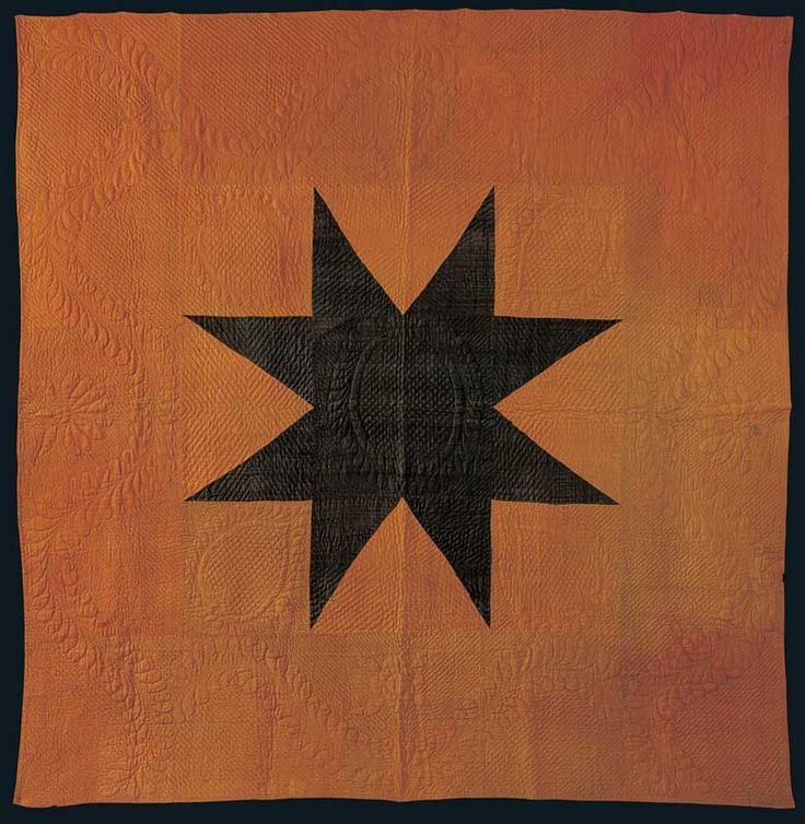 """Center Star Quilt, Maker Unknown, New England, 1815 to 1825, Glazed wool, 100 1/2"""" x 98"""""""