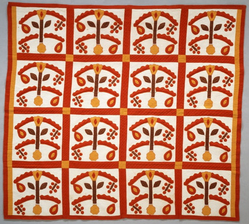 Tree of Life, made by Mary Jane Jackson Mason, Cedar Creek, Texas, l880. From Briscoe Center for American History, University of Texas at Austin, Texas Sesquicentennial Quilt Association, Texas Quilt Search. Published in The Quilt Index.