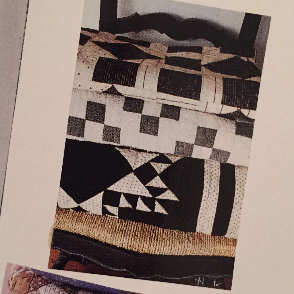 black and white quilt stack