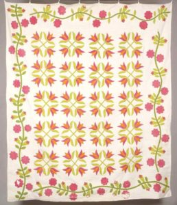 "Tulip Quilt, from the Franks Family Vaughan Ontario (exact maker unknown),c. 1860, 76-1/2"" x 93"", cotton, <a href=""http://www.blackcreekartifacts.com/bcpv/detail/32135.html"">Black Creek Pioneer Village</a>."