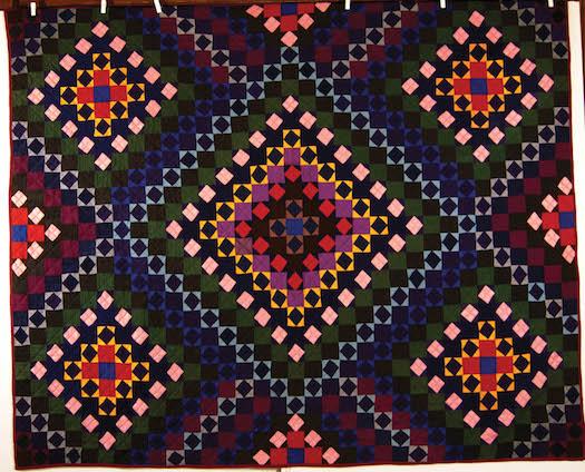 "Mennonite Quilt of Illusion, Maker Unknown, Ontario, c. 1940, cotton, 72"" x 87"", Private Collection."