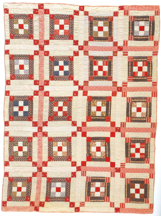 Triple Nine Patch, Ada Maria Walfield, Mosher's Island, Lunenburg County, Nova Scotia, c. 1900, cotton, 151 cm x 202 cm, from the collection of the Nova Scotia Museum.